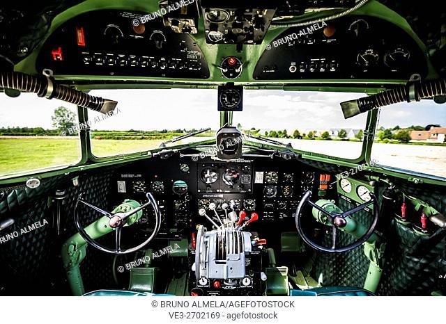 Douglas C-47 Dakota cockpit in the battery fire base of Merville (department of Seine-Maritime, region of Normandie, France)