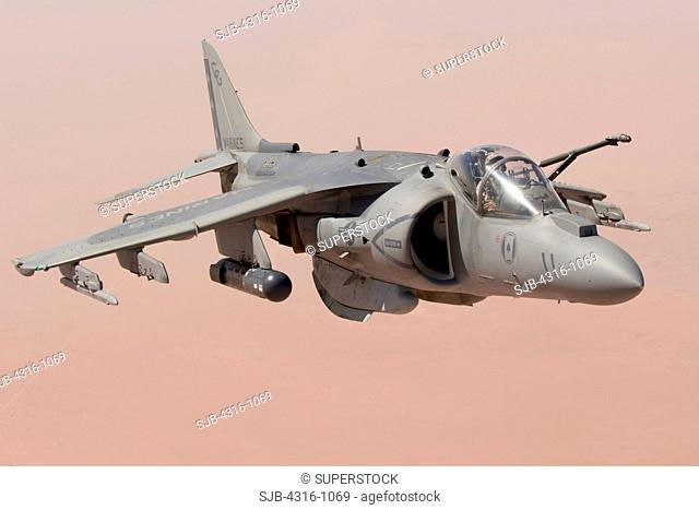 A US Marine Corps AV-8B Harrier Prepares to Refuel in Flight Above the Al Anbar Province of Iraq