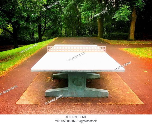 Concrete table tennis in park UK