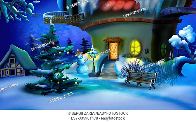 Magic Christmas Night. New Year Eve Scene. Handmade illustration in a classic cartoon style