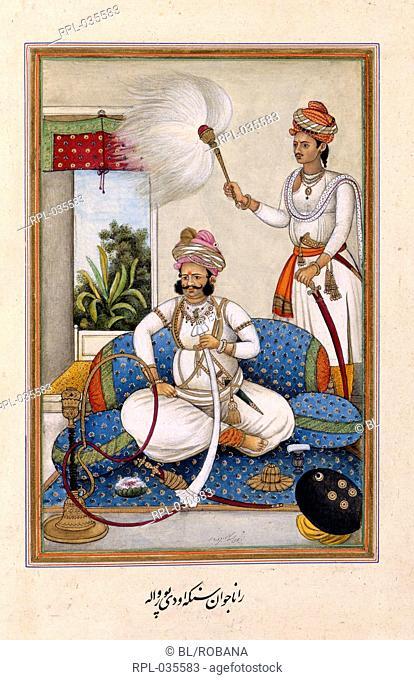 Maharana of Udaipur Portrait of Maharana Javan Singh of Udaipur r.1828-1838. Image taken from Tazkirat al-umara. Originally published/produced in India 1830