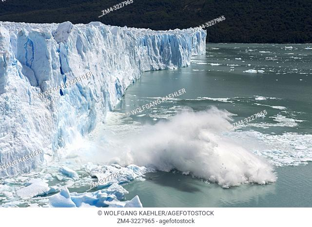 Sequence of a huge chunk of ice calving from the glacier face of the Perito Moreno Glacier in Los Glaciares National Park near El Calafate, Argentina