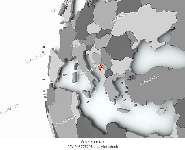 Illustration of Montenegro on political globe with embedded flag. 3D illustration