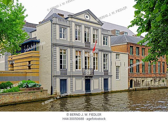 River, Dijver, house line, Brugge, Brugge Belgium