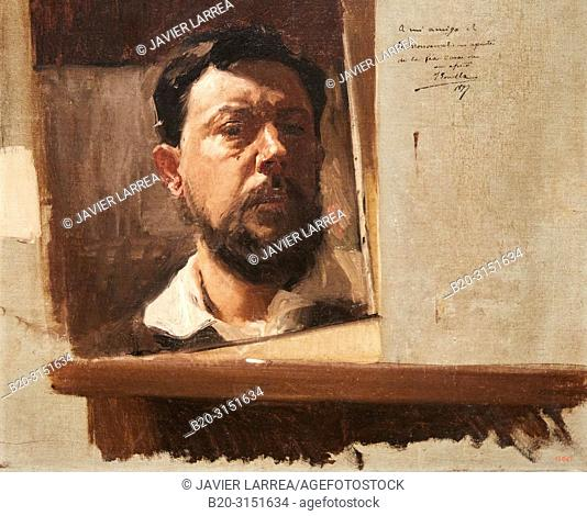 """""""Self-portrait"""", 1897, Joaquim Sorolla, National Museum of Catalan Art, Museu Nacional d Art de Catalunya, MNAC, Barcelona, Spain, Europe"