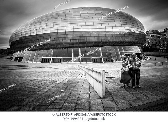 Santander Sports Palace. Two people in the foreground. Black and white photography