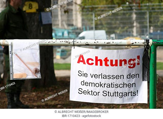 Stuttgart 21 building project, protest poster on the fence of the still existing south wing of Stuttgart station, Stuttgart, Germany, Europe