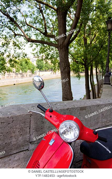 Red italian Motorcycle, Seine, Paris, France