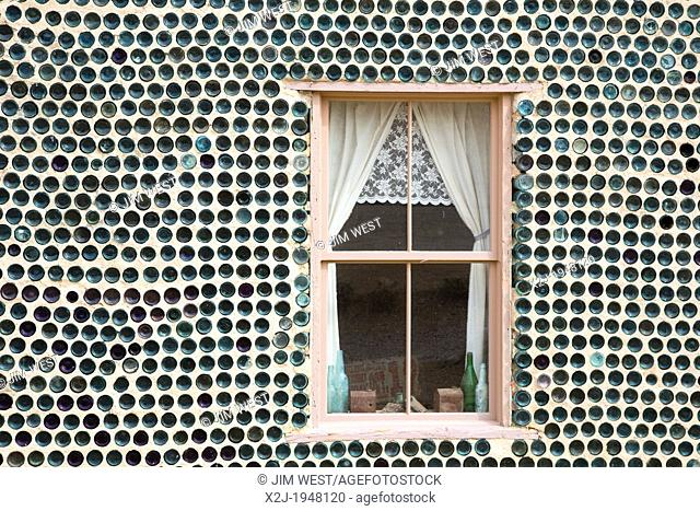 Beatty, Nevada - The bottle house in Rhyolite, a town that boomed for a few years after gold was discovered in 1904. Tom Kelly built the house in 1906 from...