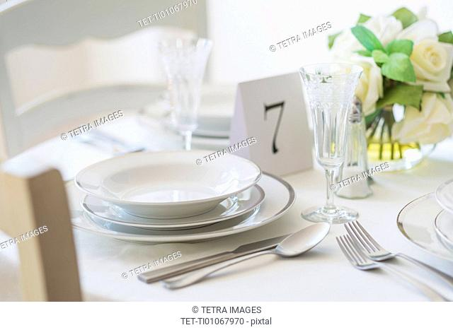 Close up of place setting