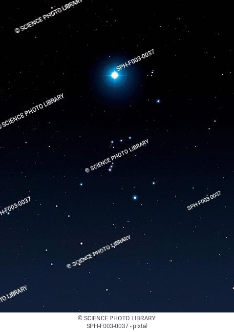 The red supergiant star Betelgeuse, famously marking the leftmost shoulder in the constellation of Orion the Hunter, is poised to explode