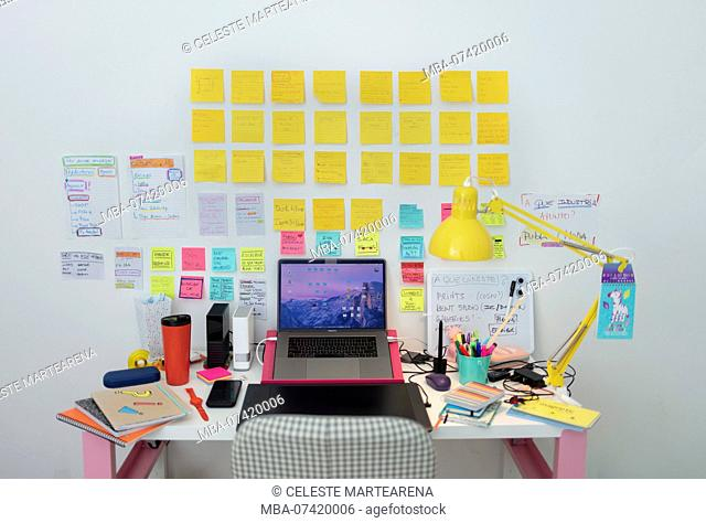 colorful office with a lot of post its