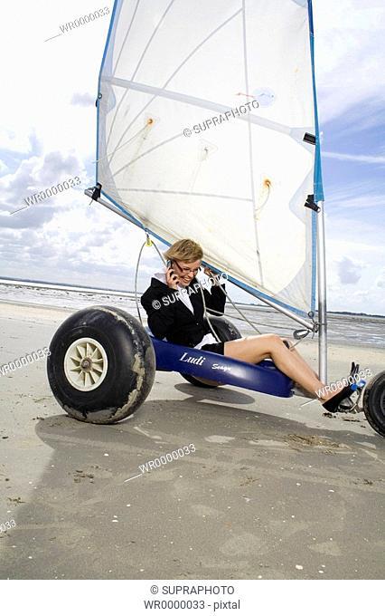 Woman sand-yachting