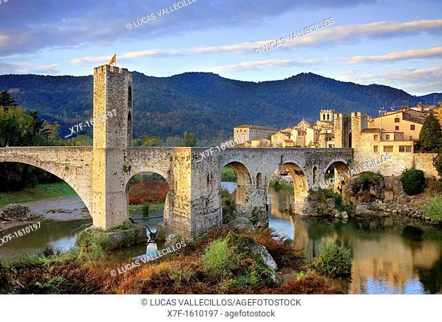 Medieval Bridge -11st Century, Besalú, La Garrotxa, Girona, Spain