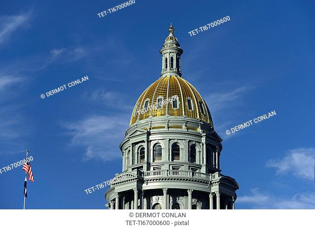 USA, Colorado, Denver, Capitol State building against blue sky