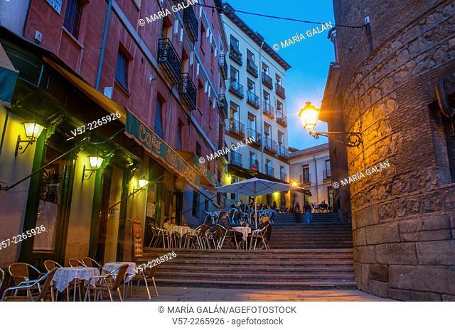 Terrace in Nuncio street, night view. Madrid, Spain