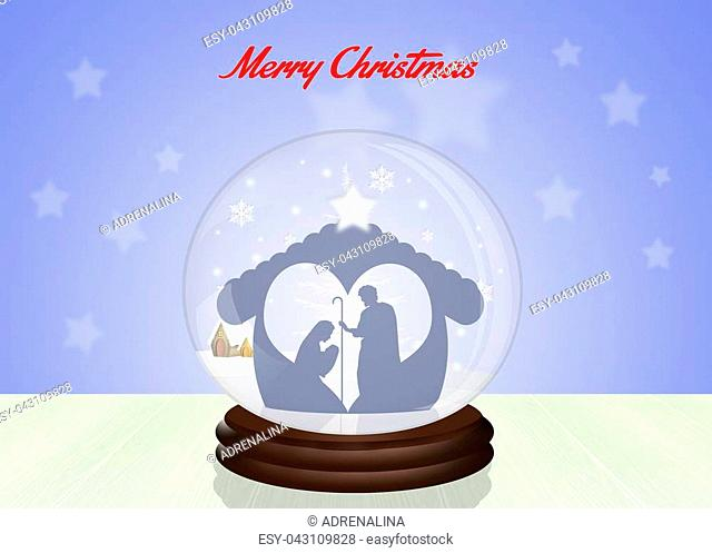 illustration of Christmas Nativity scene in the crystal ball