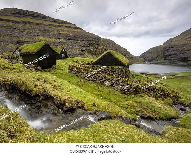 Houses, Saksun, Faroe Islands, Denmark