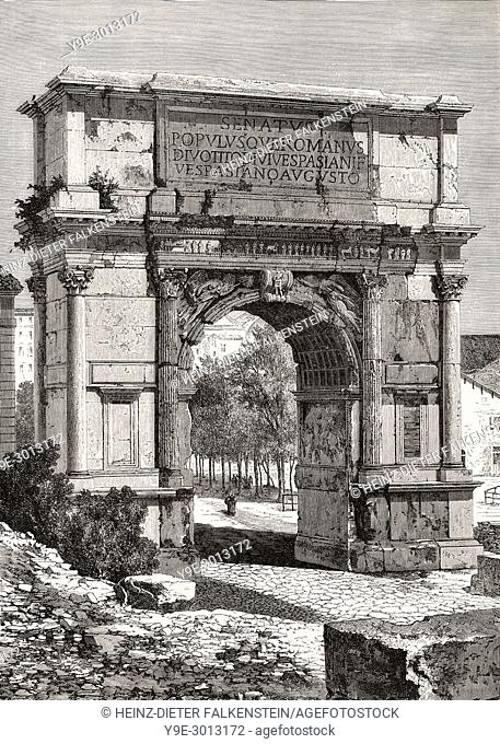 The Arch of Titus, Via Sacra, Rome, Italy, 19th Century