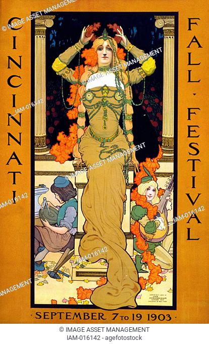 Cincinnati fall festival September 7 to 19 1903. Poster for the Festival showing a woman seated on a pedestal placing a wreath on her head and wearing art...
