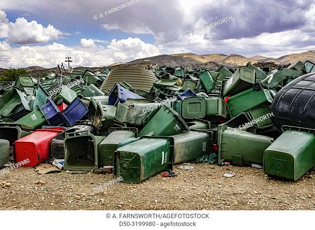Garbage cans for recycling at the municipal dump. Windhoek, Namibia