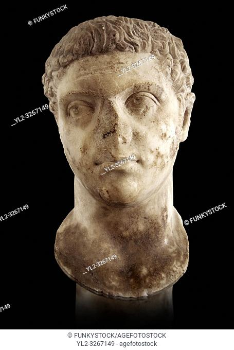 Roman sculpture of the Emperor Caracalla, excavated from Thuburbo-Majus, sculpted circa 211-217AD. The Bardo National Museum, Tunis, Inv No: C. 1347