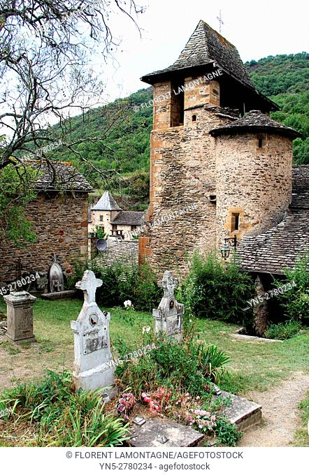 View on the church and cimetery of the village of Brousse le Chateau, Aveyron, Occitanie, Languedoc, Roussillon, France