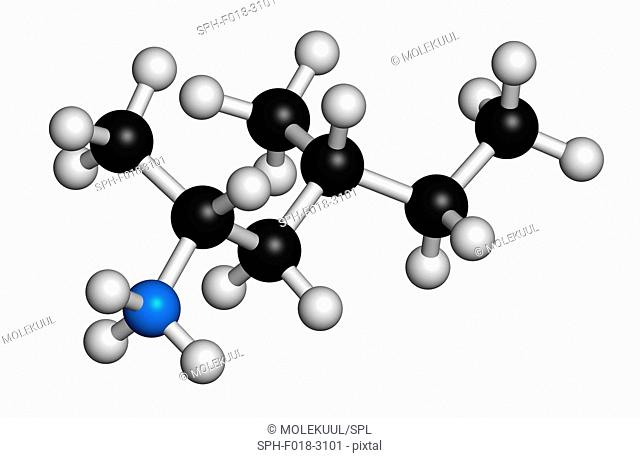 Methylhexanamine (dimethylamylamine, DMAA) stimulant molecule. 3D rendering. Atoms are represented as spheres with conventional colour coding: hydrogen (white)