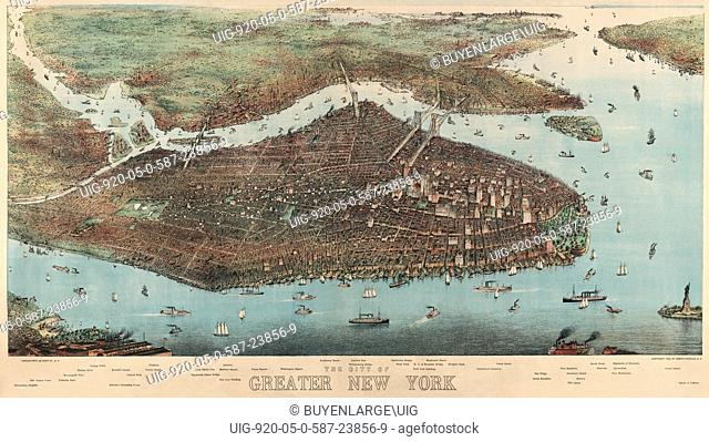 Bird's-eye view of greater New York with Battery Park on the right and showing the boroughs of Bronx, Queens, Manhattan, Brooklyn, and Richmond