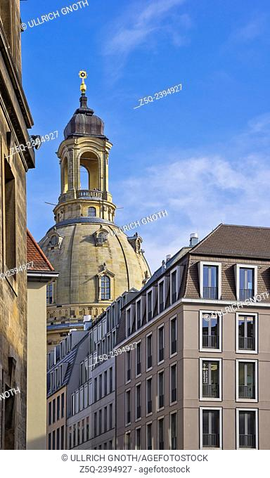 The Frauenkirche Church of Dresden, Saxony, Germany, as seen as from Schlossplatz Square through the Augustusstrasse lane