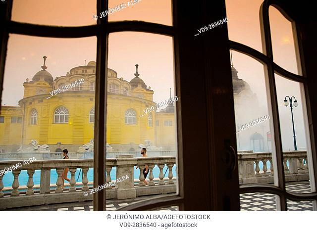 The largest medicinal thermal baths in Europe. The Neo baroque Szechenyi baths, City Park. Budapest Hungary, Southeast Europe