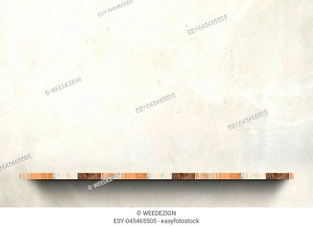 Empty wood board shelf at concrete wall background,Mock up for display or montage of product or design