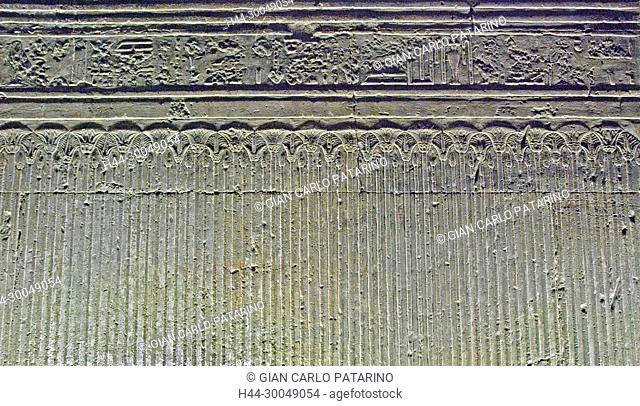 Egypt,Dendera,Ptolemaic temple of the goddess Hathor.Carvings on interior wall