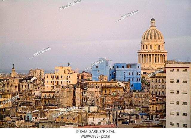 Sunset over the El Capitolio and old city buildings, Havana, Cuba