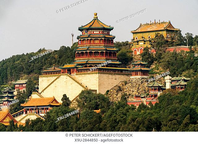 Longevity Hill with Tower of Buddhist Incense, Summer Palace, Beijing, People's Republic of China, Asia