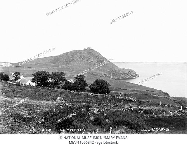 Tor Head, Co. Antrim - a view of the headland, with a farm in the foreground, obscured by trees. (Location: Northern Ireland; County Antrim; Torr Head)
