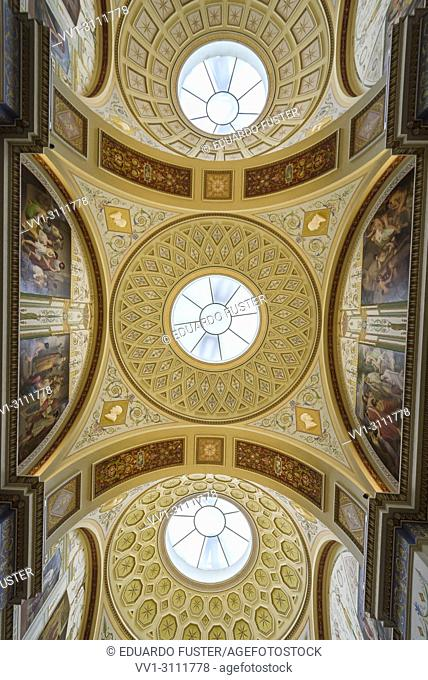 Ceiling in the interior of the Hermitage. Winter Palace, St. Petersburg, Russia