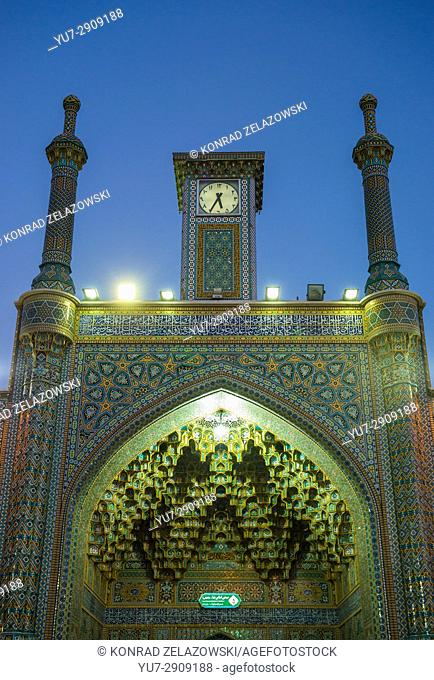 Clock tower in Fatima Masumeh Shrine, Shiah Islam holy place in Qom city, capital of Qom Province of Iran