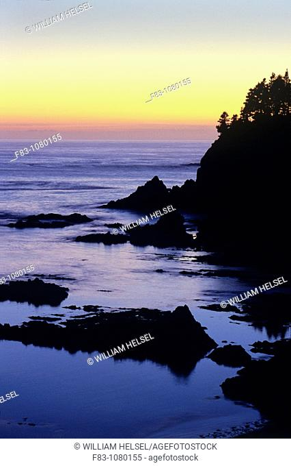 USA, Oregon, Sunset Bay State Park, cliff, rocks and Pacific Ocean at sunset