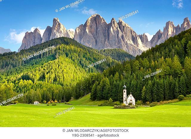 St Johann Church, Santa Maddalena, Val Di Funes, Italy