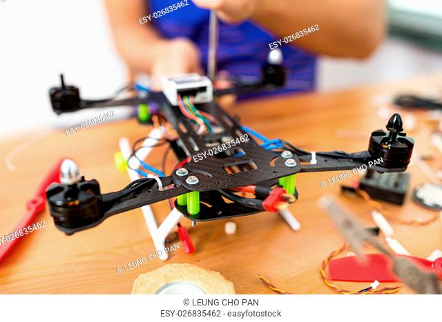 Flying drone building at home