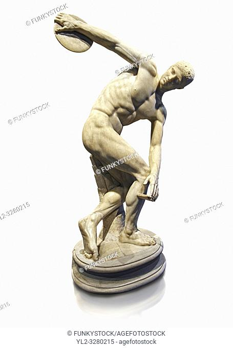 Roman sculpture of a Discus Thrower, Paros marble made in the mid 2nd cent AD excavated from the Villa Palombara, Esquilino, Rome