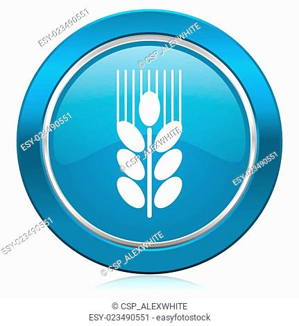 grain blue icon agriculture sign