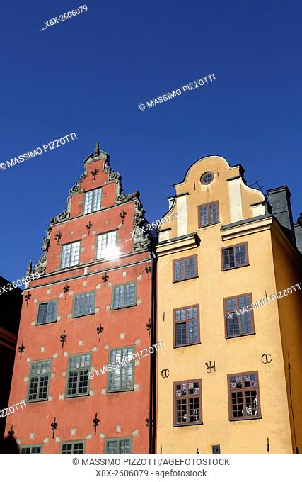 Buildings number 18 and 22 in Stortorget Square, Gamla Stan, Stockholm, Sweden