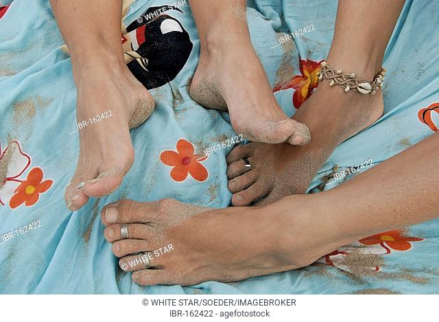 Toe rings and anklets worn by Neo-hippies , Ibiza , Balearis Islands , Spain , Europe