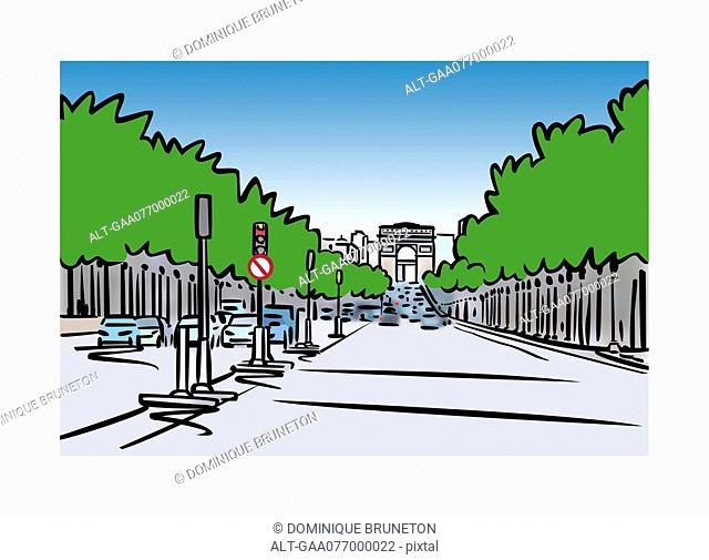 Illustration of Avenue des Champs-Élysées in Paris, France