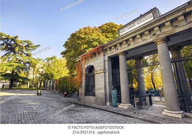 The Royal Botanical Garden entrance. Madrid. Spain