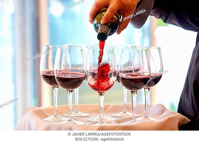 Wine glasses. Catering. Conference. Artium. Centro-Museo Vasco de Arte Contemporáneo. Vitoria. Araba. Basque Country. Spain