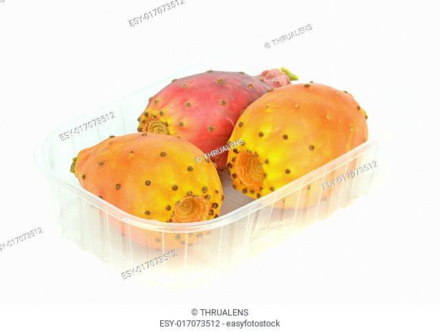 Cactus figs in a plastic retail box on a white background