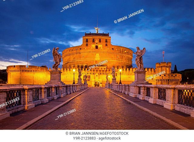 Twilight view across Ponte Sant Angelo to Castel Sant Angelo, Rome, Lazio Italy